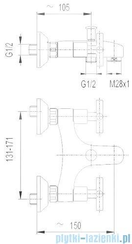 KFA SYMETRIC Bateria wannowa ścienna chrom 344-010-00