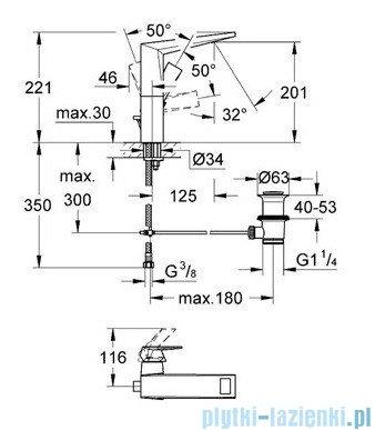 Grohe Allure Brilliant bateria umywalkowa DN 15 z zestawem odpływowym chrom 23109000