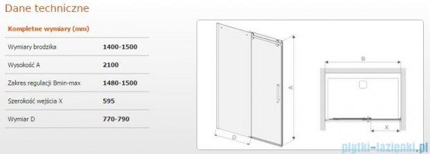 Sanplast drzwi przesuwne D2/ALTIIa-140-150 140-150x210 cm przejrzyste 600-121-1541-42-401