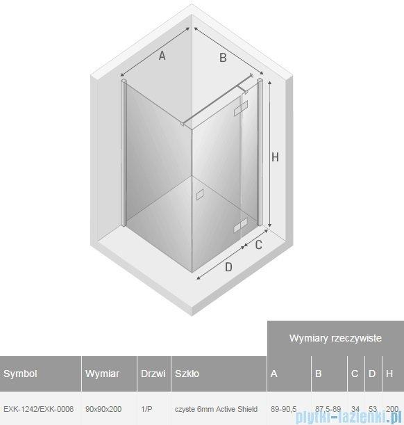 New Trendy Reflexa 90x90x200 cm kabina kwadratowa prawa przejrzyste EXK-1242/EXK-0006
