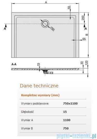 Sanplast Brodzik prostokątny Space Mineral 110x75x1,5cm + syfon 645-290-0240-01-000