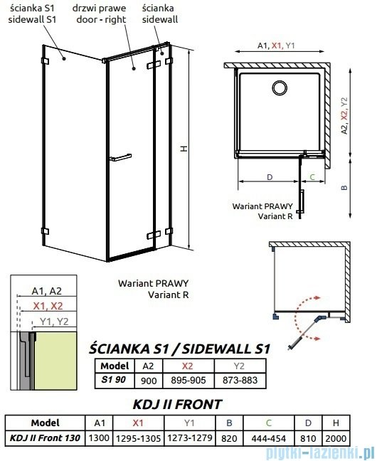 Radaway Arta Kdj II kabina 130x90cm prawa szkło przejrzyste 386457-03-01R/386045-03-01R/386021-03-01
