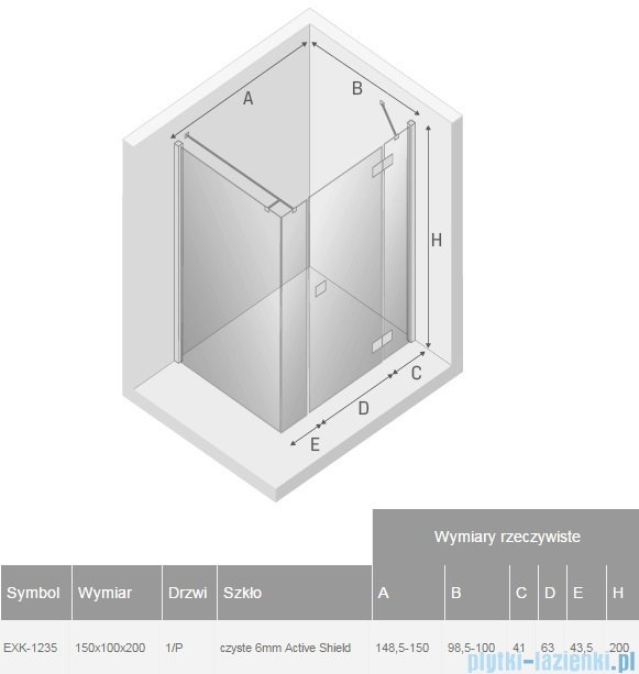 New Trendy Reflexa Plus 150x100x200 cm kabina prostokątna prawa przejrzyste EXK-1235