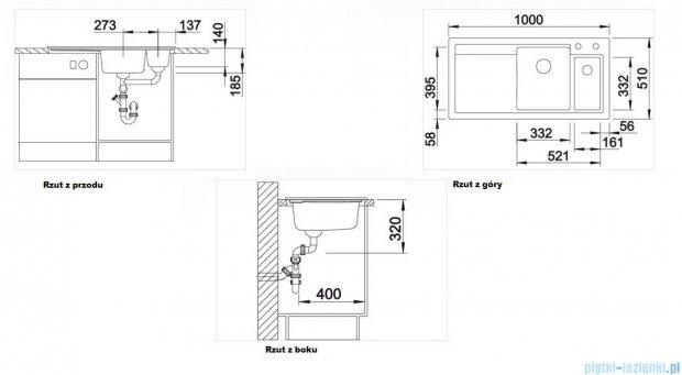 Blanco Axon II 6 S  Zlewozmywak ceramiczny komora lewa kolor: jaśmin z kor. aut. i akcesoriami  516547
