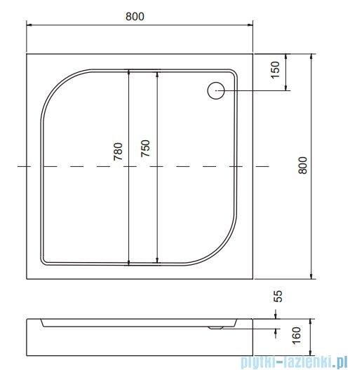 Sea Horse Sigma zestaw kabina natryskowa kwadratowa 80x80 grafit + brodzik BKZ1/3/QG