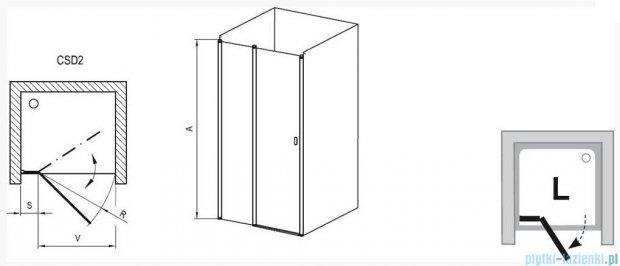 Ravak Chrome Drzwi prysznicowe CSD2-100 satyna+transparent 0QVACU00Z1
