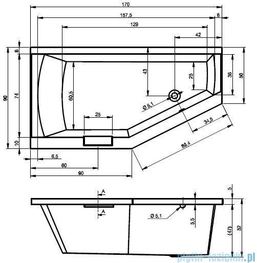 Riho Geta Wanna asymetryczna 170x90 prawa z hydromasażem TOP Aero11 BA88T1
