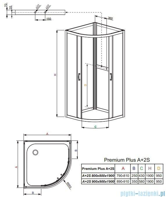 Radaway Premium Plus A+2S kabina czterościenna półokrągła 80x80 szkło przejrzyste/fabric 30413-01-01N/33443-01-06N