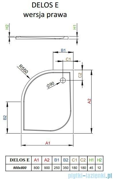 Radaway Delos E Brodzik półokrągły 90x80cm prawy SDE8090-01R