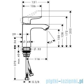 Hansgrohe Metris Jednouchwytowa bateria umywalkowa 110mm DN15 31080000