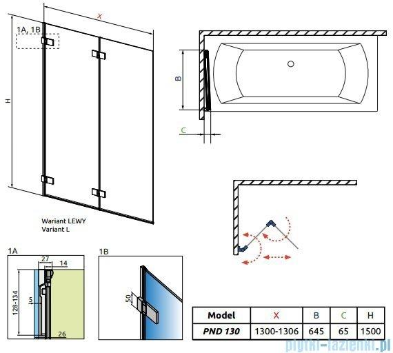 Radaway Arta Pnd parawan nawannowy 130cm lewy szkło przejrzyste 210213-01L