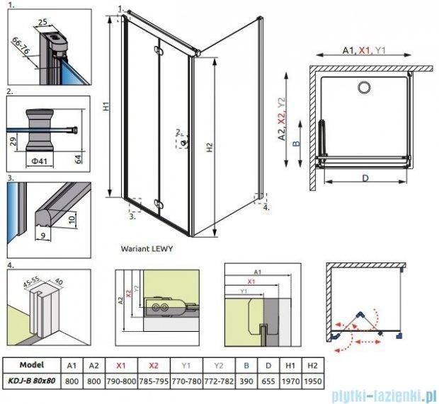 Radaway Eos KDJ-B kabina prysznicowa 80x80 lewa szkło przejrzyste + brodzik Delos C + syfon 37413-01-01NL