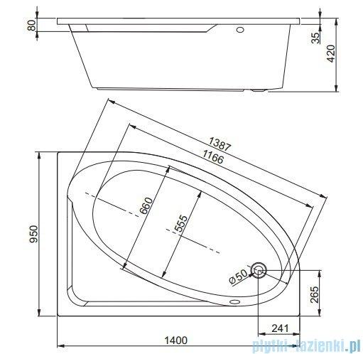 Aquaform Tinos wanna asymetryczna 140x95cm lewa 05140