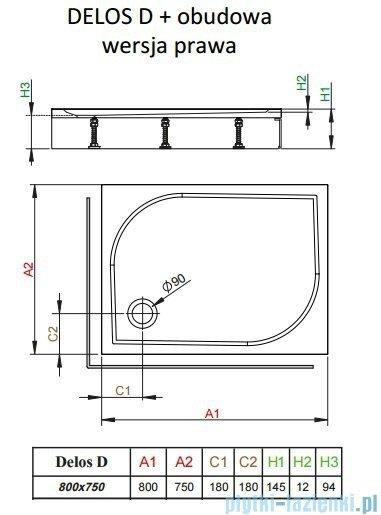 Radaway Brodzik prostokątny Delos D 80x75x14 cm z obudową prawy 4D87514-03R