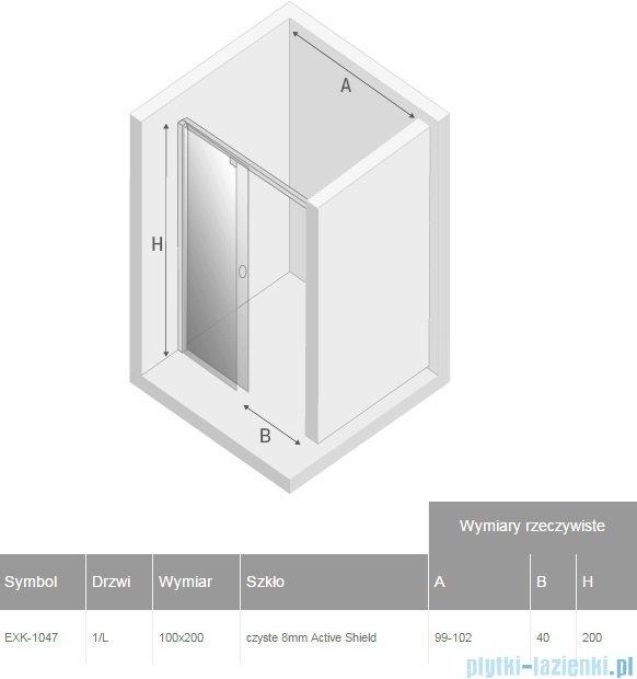 New Trendy drzwi prysznicowe Porta 100x200cm lewe szkło przejrzyste EXK-1047