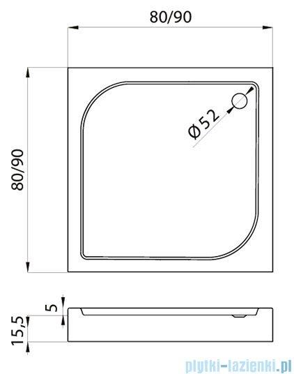 New Trendy Domio 80x80x16 cm brodzik kwadratowy B-0347