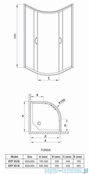 Deante Funkia kabina półokrągła 80x80x185 cm przejrzysta KYP 052K