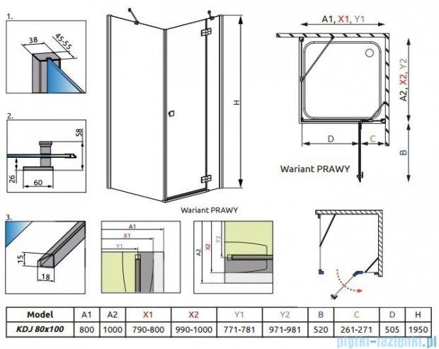 Almatea Kdj Radaway Kabina prysznicowa 80x100 prawa szkło grafitowe 32149-01-05NR