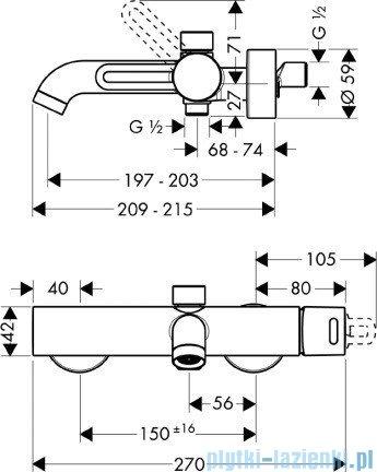 Hansgrohe Axor Uno² Jednouchwytowa bateria wannowa DN15 38420000
