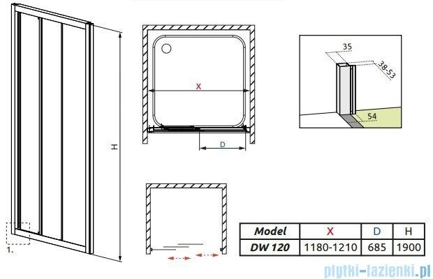 Treviso DW Radaway Drzwi wnękowe 120 szkło przejrzyste 32333-01-01N