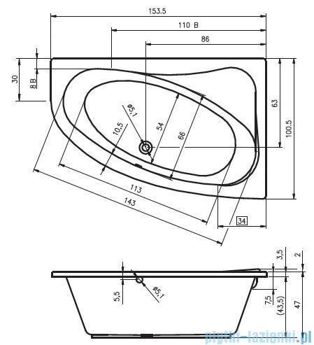 Riho Lyra wanna asymetryczna 153,5x100,5cm lewa BA68