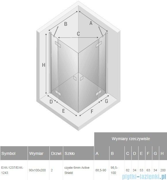 New Trendy Reflexa 90x100x200 cm kabina prostokątna przejrzyste EXK-1237/EXK-1243
