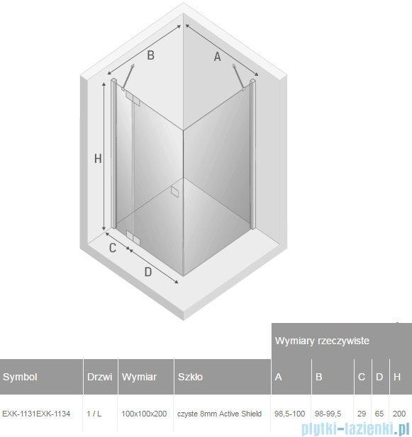 New Trendy kabina Kamea 100x100x200cm lewa przejrzyste EXK-1131/EXK-1134