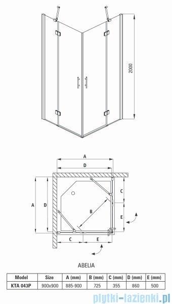 Deante Abelia kabina kwadratowa 90x90x200 cm przejrzyste KTA 043P