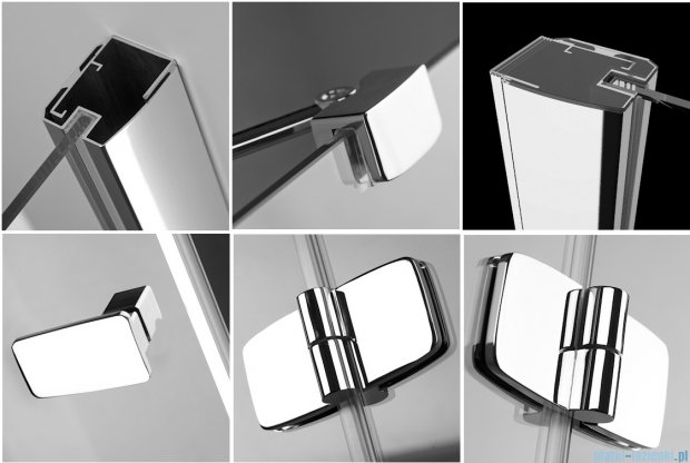 Radaway Kabina prysznicowa Fuenta KDJ 80x80 prawa szkło przejrzyste + Brodzik Argos C + syfon 381039-01R
