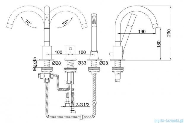 Kohlman Roxin 3-otworowa bateria wannowa QB241R