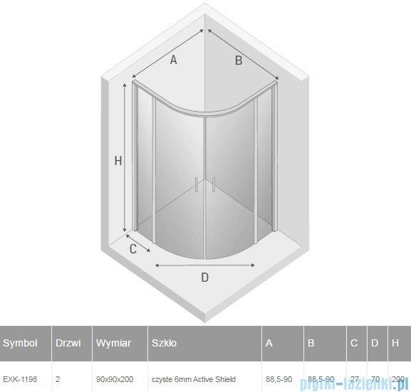 New Trendy Perfecta kabina półokrągła R55 90x90x200 cm przejrzyste EXK-1198