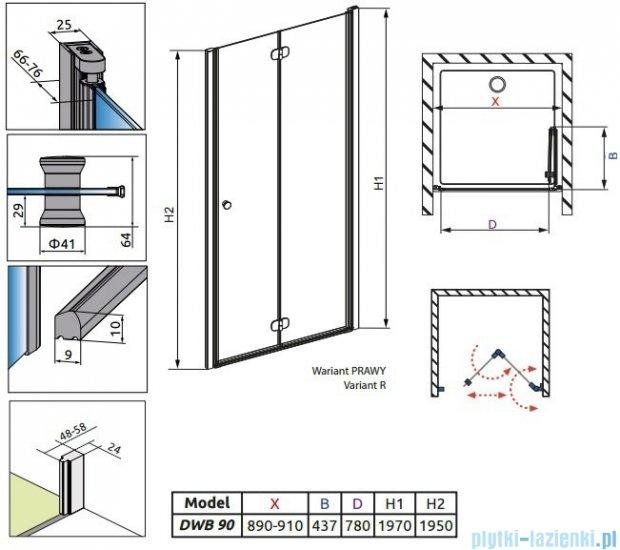 Radaway Eos DWB Drzwi wnękowe 90 prawe szkło przejrzyste + brodzik Delos C + syfon 37803-01-01NR