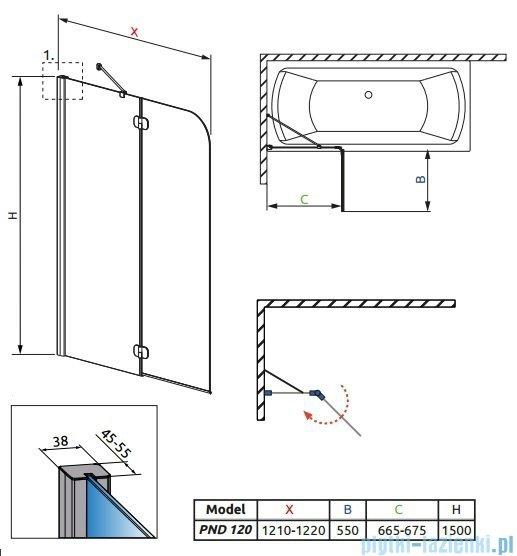 Radaway Torrenta PND Parawan nawannowy dwuczęściowy 120 cm lewy szkło grafitowe 201203-105NL