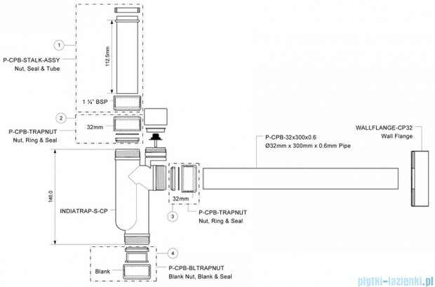 McAlpine Syfon umywalkowy rurowy chrom CAT32V-CB