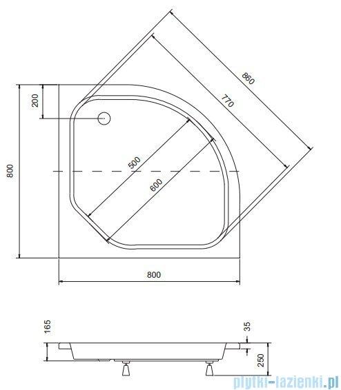 Sea Horse Sigma zestaw kabina natryskowa półokrągła - niska, 80x80, chrom szkło A2 + brodzik BKZ1/3/KB/A2
