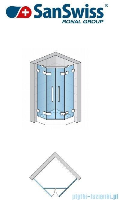 SanSwiss Pur PUR52 Drzwi 2-częściowe do kabiny 5-kątnej 45-100cm profil chrom szkło Pas satynowy PUR52SM11051