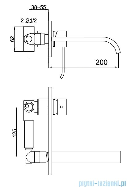 Kohlman Axis podtynkowa bateria umywalkowa QW188N