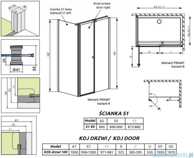 Radaway Eos II KDS kabina prysznicowa 100x90 prawa szkło przejrzyste 3799482-01R/3799411-01L