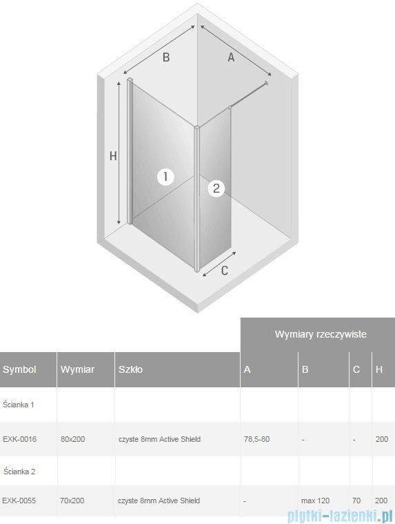 New Trendy New Modus kabina Walk-In 80x70x200 cm przejrzyste EXK-0016/EXK-0055