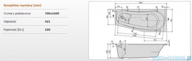 Sanplast As Wanna asymetryczna prawa WAP/AS 160x70 cm 610-130-0220-01-000