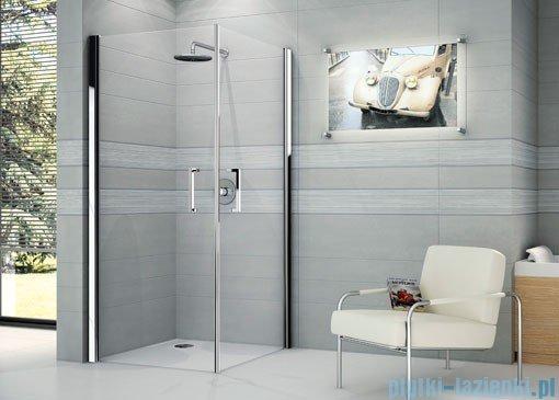Novellini Ścianka prysznicowa GIADA 2G 87 cm lewa szkło przejrzyste profil chrom GIADN2G87LS-1K