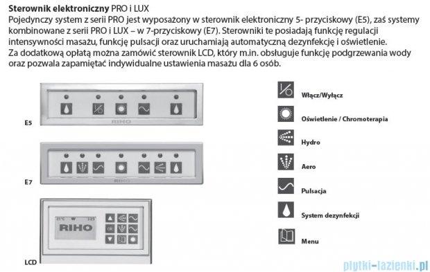 Riho Lugo wanna prostokątna 170x75 z hydromasażem LUX Hydro 4+4+2/Aero 11 BT01L8