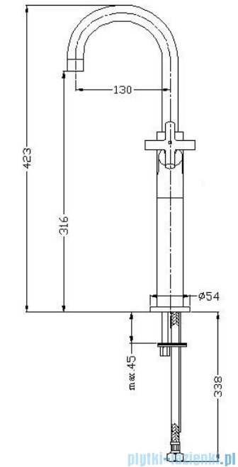 Omnires Modern bateria umywalkowa sztorcowa wysoka chrom C301-H