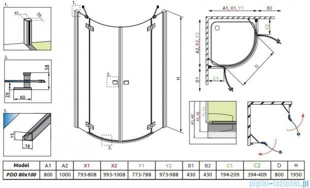 Radaway Almatea PDD E Kabina półokrągła 100x80 szkło brązowe 30542-01-08N