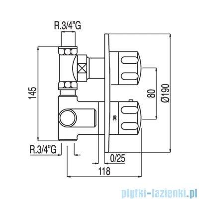 Tres Tresmostatic Bateria termostatyczna podtynkowa z zaworem kolor chrom 1.90.151