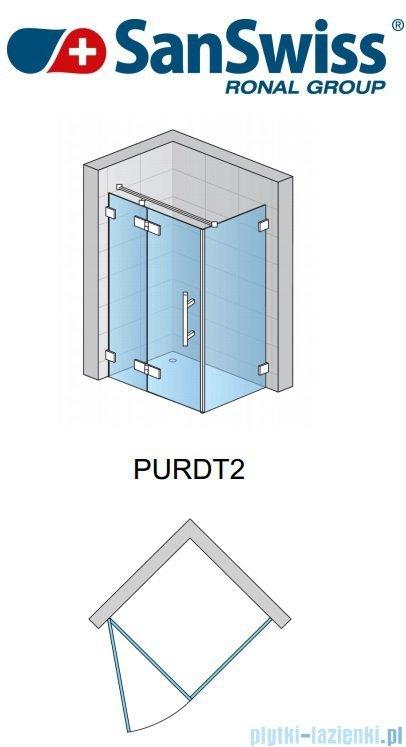 SanSwiss Pur PURDT2 Ścianka boczna 30-100cm profil chrom szkło Satyna PURDT2SM21049
