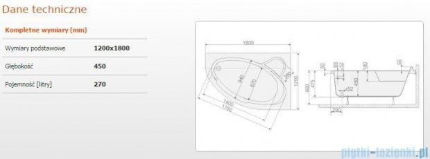 Sanplast Comfort Wanna asymetryczna prawa+stelaż WAP/CO 180x120+ST6 610-060-0550-01-000