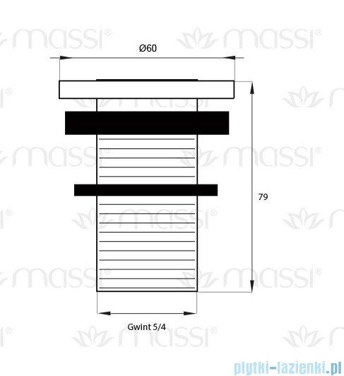 Massi korek klik klak mały bez przelewu chrom MSA-KK-01