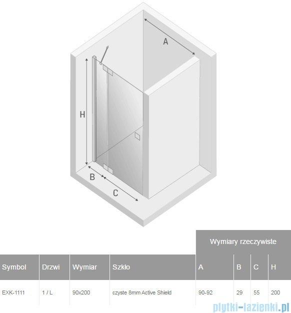 New Trendy drzwi prysznicowe Kamea 90cm lewe szkło przejrzyste EXK-1111