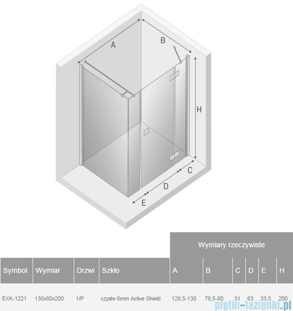 New Trendy Reflexa Plus 130x80x200 cm kabina prostokątna prawa przejrzyste EXK-1221